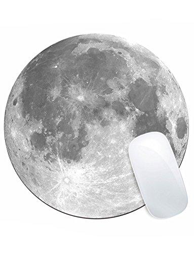 Gaming Mauspad,KINGCOO Office und Gaming Mauspad/Mousepad Runde Mousemat Mausunterlage mit Rutschfestem Gummi Mousepad (Mond)