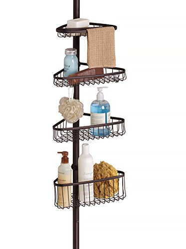 iDesign York Metal Wire Tension Rod Corner Shower Caddy, Adjustable 5'-9' Pole and Baskets for...