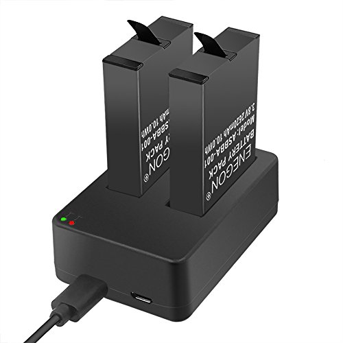 ENEGON Batteries (2 Pack) for Gopro Fusion & Dual Charger with Micro USB & Type-C Inputs for Gopro Fusion 360 Degree Sport Camera ASBBA-001 Battery (100% Compatible with Original)