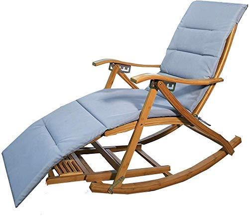 LLSS Sillas de Camping Tumbonas de jardín Silla Plegable Mecedora reclinable de bambú Silla Mecedora Plegable - Balcón Silla de salón para el hogar, Respaldo Ajustable Silla p