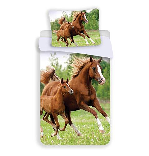 Unbekannt Kinder-Bettwäsche-Set Pferd 100-% Baumwolle 140x200cm