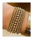 Gold Bead Bracelet, 14K Yellow Gold Filled Beaded Ball Bracelet, 2.5mm, 3mm, 4mm, 5mm Stacking Stretch Bracelet