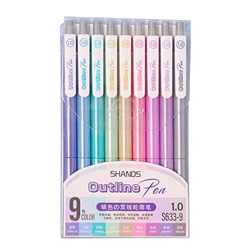 ETSK - Juego de 9 bolígrafos de contorno de plata y oro con purpurina para niños y adultos, dibujo de scrapbooking