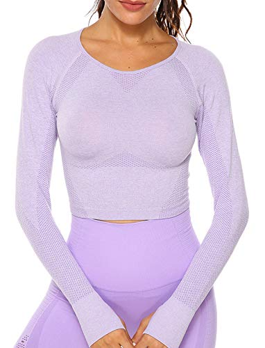 Women's Yoga Gym Crop Top Compression Workout Athletic Long Sleeve Shirt S