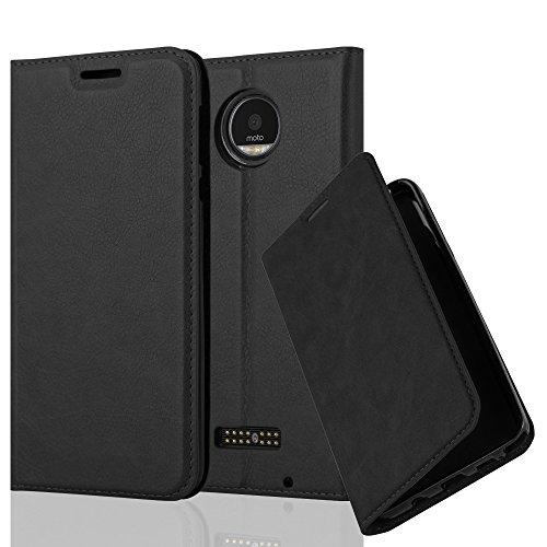 Cadorabo Hülle für Motorola Moto Z Play - Hülle in Nacht SCHWARZ – Handyhülle mit Magnetverschluss, Standfunktion & Kartenfach - Hülle Cover Schutzhülle Etui Tasche Book Klapp Style