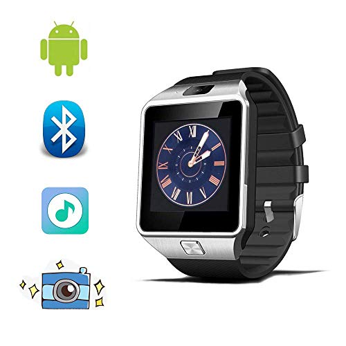 Bluetooth Smart Watch Fitness Tracker Step Counter Sedentary Reminder SNS Notifications Audio Player for Android Smartphones (Silver+Black Band)
