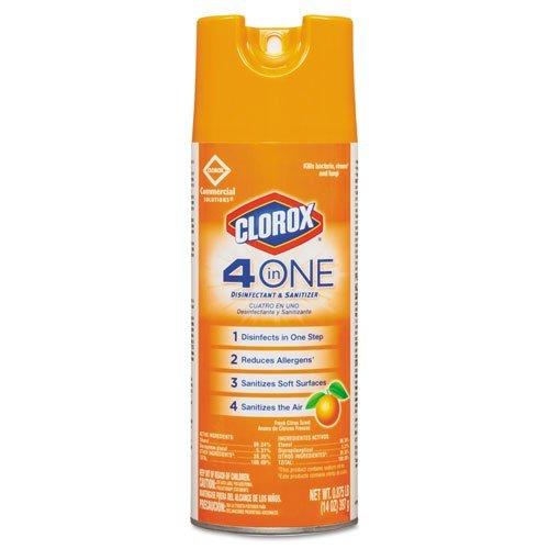 Clorox 4-in-One Disinfectant & Sanitizer, Fresh Citrus, 14oz Aerosol - 6 bottles per case. by 5COU
