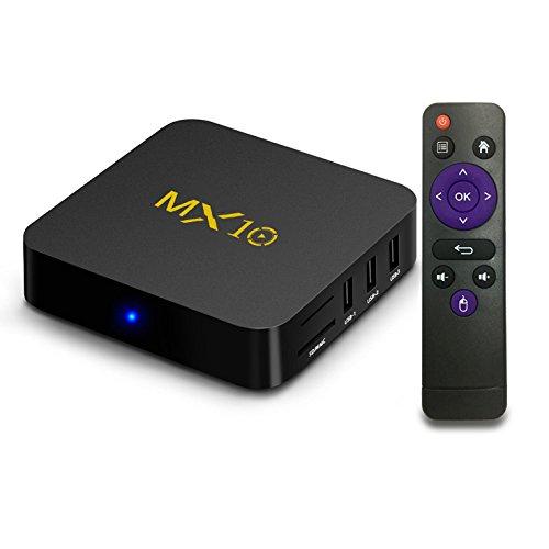 gzcrdz Streaming Media Player, MX107.1de Android TV Box 4GB + 32GB, Smart TV Box Apoyo 2,4G Wifi Video de hdr con cuatro núcleos de 64bits, 3d, 4K Smart TV Box