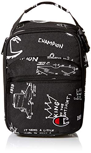 Champion unisex child Youth Supercize Lunch Kit Kid s Backpack, Black/White, Youth Size US
