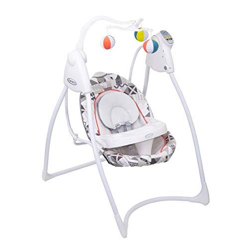 Graco Lovin Hug elektrische Babyschaukel, mit Spielbogen für Babys und Tisch, ab 0 Monate für Neugeborene, Babyschaukel elektrisch mit Musik und Naturgeräuschen, zusammenklappbar, Patchwork Grey