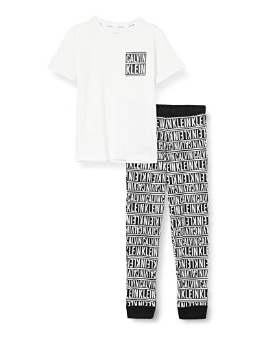 Calvin Klein Jungen Knit PJ Set (SS+Cuffed Pant) Pyjamaset, Pvhwhitew/Logostripeblackaop, 8/10