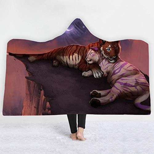 PandaWDD deken, warm, dieren, tijger, moeder en kinderen, 150 x 200 cm, met capuchon, pluche, cape, zacht, comfortabel, microvezel, voor bank