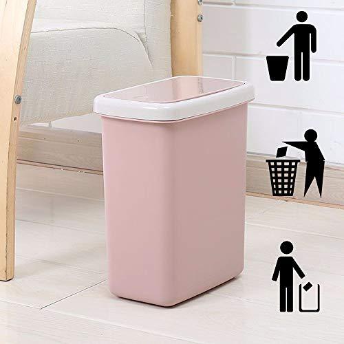 DelongKe Push Type afvalbak slanke vuilnisbak voor keuken toilet Clamshell Cover Pop Up afvalbak roze