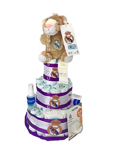 Tarta de pañales DODOT Real Madrid Mustela + peluche y chupete oficial (Talla 3 (4-9 kg))