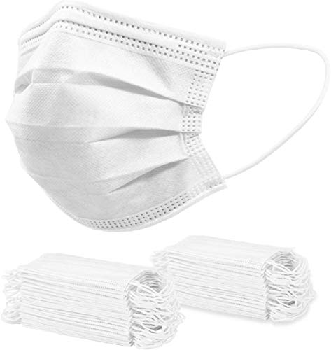 Face Masks 3 Layers Breathable and Comfortable Elastic Ear Loop (100PCS, White)
