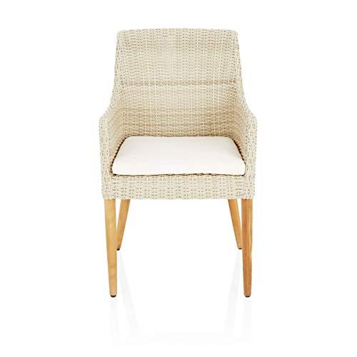 Pureday IMPRESSIONNEN Living Chaise extérieure Nora-avec Coussins de siège-Moderne-rotin en Plastique, Bois Massif
