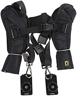 Quick Rapid Double Dual Shoulder Sling Belt Strap for 2 Digital SLR DSLR Cameras Black