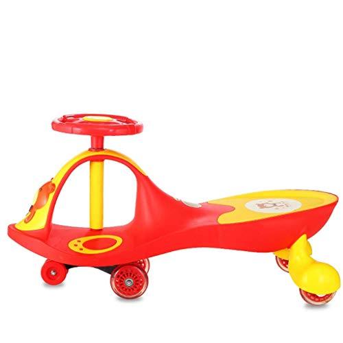 NBgycheche Triciclo Trike Coche Twist de niños, Juguetes para niños 1-3-7 años de Edad Coche Swing Coche Chica Bebé Bebé Yo Gyro Wiggle Scooter Música Música Volante Rueda Mute (Color : Red)