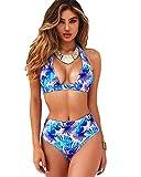 heekpek Conjuntos De Bikinis Traje De Baño Mujer a Lunares Top Halter Biquini Braga Cintura Alta Bañador para Mujer Push Up Bikini Playa Swimsuit Swimwear(Azul,M)