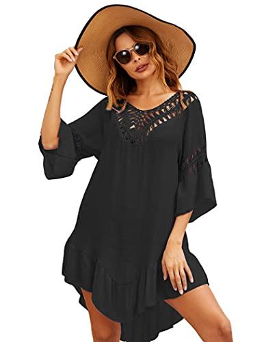 Ekouaer Swimsuit Cover Up Women Swimwear Bathing Suit Dress Sexy Bikini Beach Crochet Beachwear Tunic Top Summer
