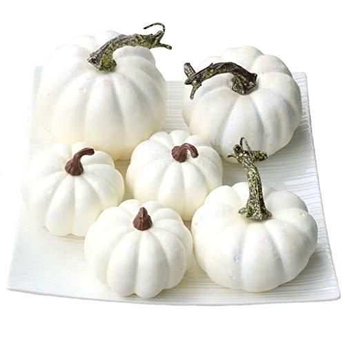 Gresorth 6 Stück Fälschung Weiß Kürbis Herbst Halloween Christmas Dekoration