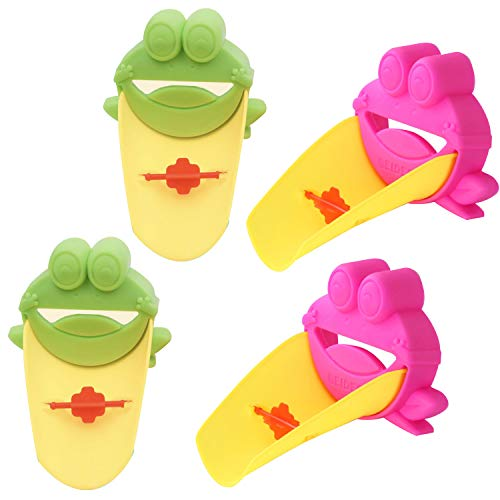 (POMAIKAI) 子供 手洗いサポート 蛇口補助 ウォーターガイド 4個セット (カエル)