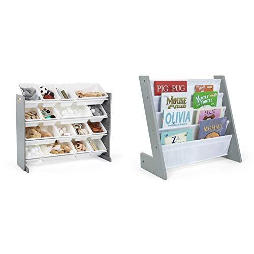 Humble Crew Supersized Wood Toy Storage Organizer, Extra Large, Grey/White & Kids Bookshelf 4 Tier Book Organizer, Inspire Collection, Grey/White