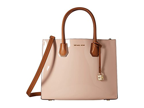Made of fine patent leather; Open top closure with letter detail on front; Middle zip compartment divides 2 large compartment; 1 inside zip pocket 2 inside open pocket; Charm lock detail; Adjustable, detachable Leather shoulder strap with 22-25 Inche...