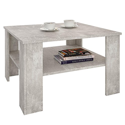 IDIMEX Table Basse SEJOUR, Table de Salon de Forme carrée avec 1 étagère Espace de Rangement Ouvert, en mélaminé décor béton
