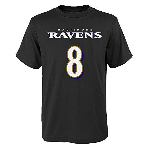 NFL Kids Youth Team Color Alternate Mainliner Name and Number Player T-Shirt (5/6, Lamar Jackson Baltimore Ravens Alternate Black)