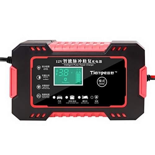 BESPORTBLE Cargadores de Batería de Coche con Cargador Inteligente Completamente Automático Unidades de Carga de Batería de Coche de 12V Y 6A Cargador de Batería LCD de Reparación de Pulso
