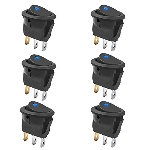 Reusious 6 pc 12V 20A Car Truck Round Rocker Toggle Switch LED Blue Light SPST On-Off Control