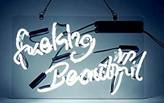 Neon Signs Fuking Beautiful Neon Light White Handmade Glass Neon Lights Sign for Office Bedroom Hotel Bar Party Decor Ultra Bright Night Light Wall Decor Sign 14 x 9 Inch