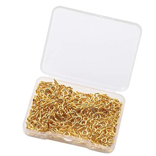 Angoily 300 Pins de Ojo de Tornillo Pequeño Anillo de Tornillos de Gancho Diminuto para Accesorios de Bricolaje Fabricación de Joyas DIY Broche de Ojo Colgante Manualidades (Dorado)