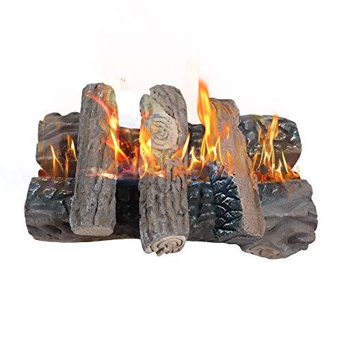 Gaskamin Holzscheite, Große Keramik Holzscheite für Gaskamin Künstlich Realistisch Brennholz Holzscheite 5er Set Innen Außen für Kamin Feuerstelle Lüftung & Entlüftungsfrei