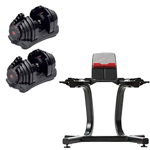 Bowflex SelectTech 1090 Adjustable Dumbbell Weights (Pair) + Stand w/Media Rack