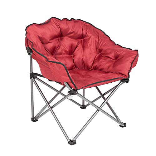 Mac Sports Folding Padded Outdoor Club Camping Chair with Carry Bag, Wine Red