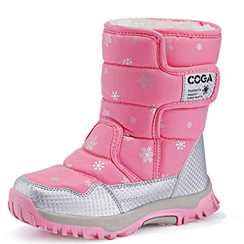 JACKSHIBO Girls Boys Outdoor Waterproof Winter Snow Boots(Toddler/Little Kid/Big Kid) Pink1.5 M US Little Kid