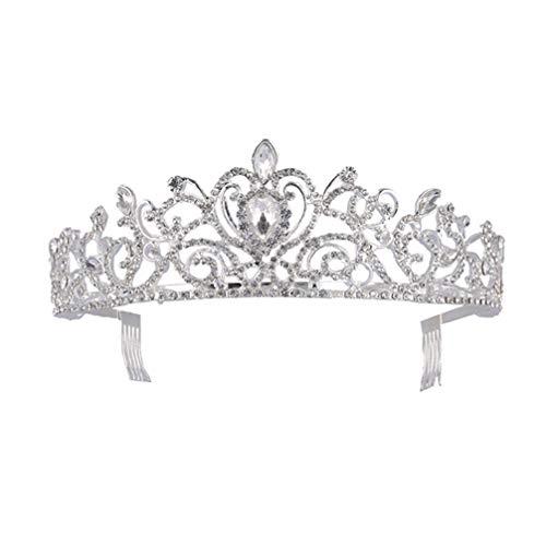 Lurrose Diamantes de Imitación Corona Boda Tirar Fiesta Peine Del Pelo Novia...
