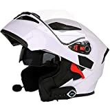Bluetooth Casque Moto Modulable,Casques Intégral Flip-Up Modulables Homme et Femme,Adulte Casque de Moto Scooter avec Double Visière Protection de la Tête,ECE Homologué K,XL=(61~62CM)