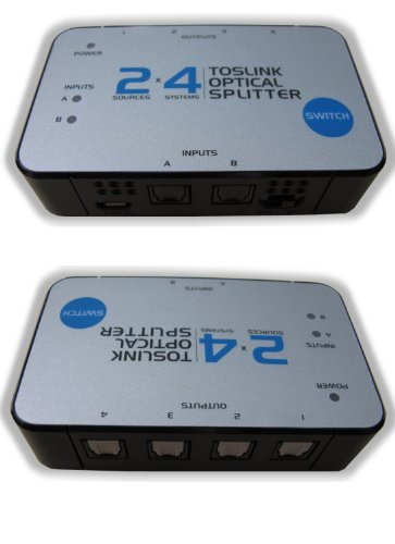 SPECIALTY-AV 2x4 TOSlink Optical Audio Splitter Distribution Amplifier Amp Distributor Multiplier