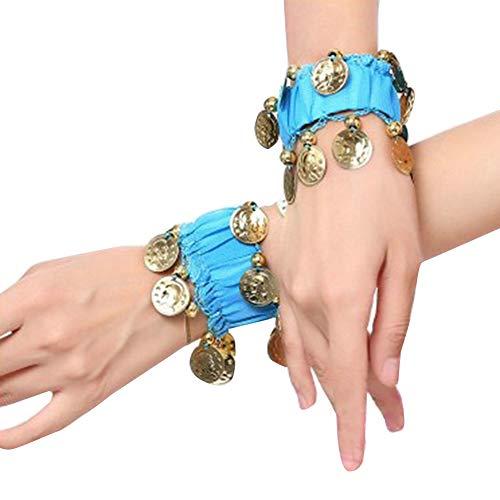 Guiran Bauchtanz Handgelenk Mit Goldfarbenen Münzen Handkette Manschette Armband Lake Blau Einheitsgröße