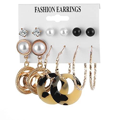 FEARRIN Pendientes para Mujer, Conjunto de Pendientes Bohemios para Mujer, Pendientes geométricos de Perlas acrílicas de Moda, joyería Femenina H70-ZL1712-5