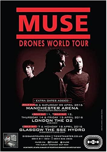 Unikei Stampe su Tela Muse Drones 2016 UK World Arena Tour Poster S Pictures Home Decor-23.6'x35.4' (60x90cm) Senza Cornice