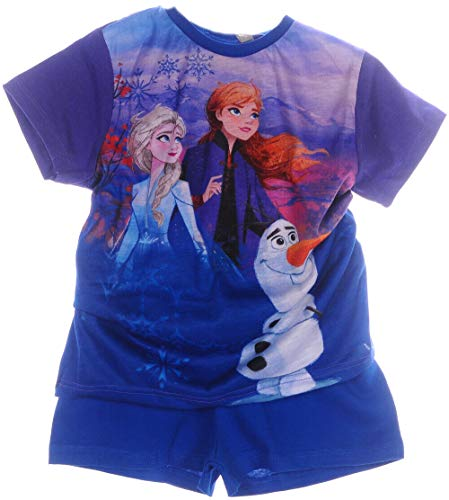 Shorty Anna ELSA Frozen Kinder Pyjama Set kurz Schlafanzug Hose Shirt Shorts (7/8-122/128)
