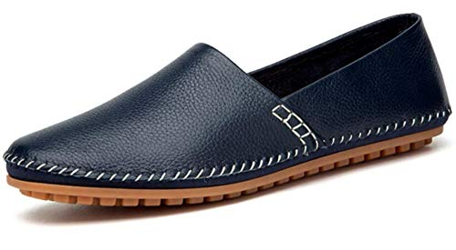 Go Tour Men's Classy Slip-on Casual Mocassin Leather Loafers The Go Driving Boat Shoes Blue 43