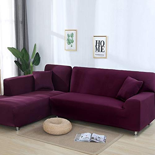 Plain Color Stretch Sofa Cover Need Order 2Piece Sofa Cover If L-Style Fundas Sofas con Chaise Longue Case for Sofa A25 3 Seater
