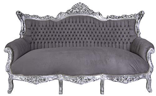 PALAZZO INT Prunksofa barock Sofa Salon Couch Silber Grau Antik Sitzbank 200cm