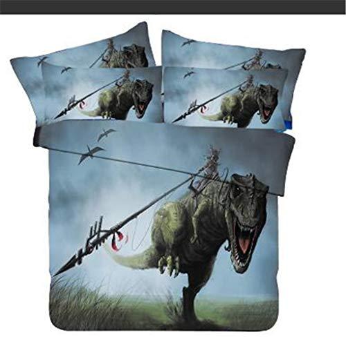 Bettwäsche-Set mit Kissenbezügen, 100 % Polyester, Digitaldruck, Dinosaurier-Serie, Bettbezug-Set (A4, 135 x 200 cm)