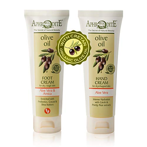 Crema de Manos APHRODITE -100% natural-2 piezas. Set 2 elaborado con el aceite de oliva orgánico más puro de Grecia (Aloe vera & Arnica / Aloe vera)